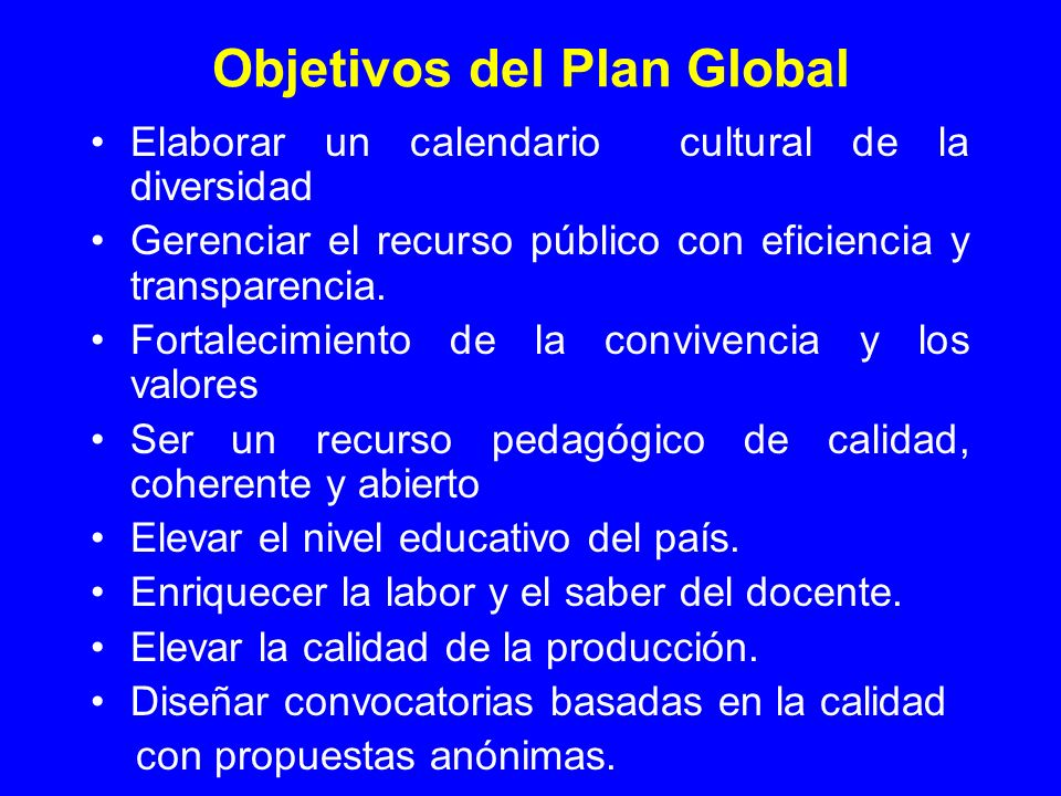 Objetivos del Plan Global