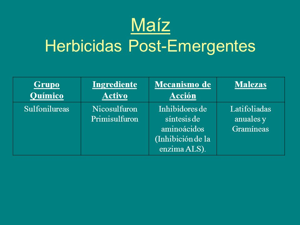Maíz Herbicidas Post-Emergentes