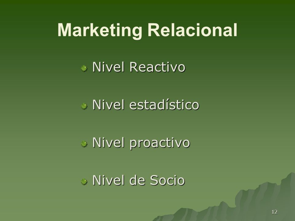 Marketing Relacional Nivel Reactivo Nivel estadístico Nivel proactivo