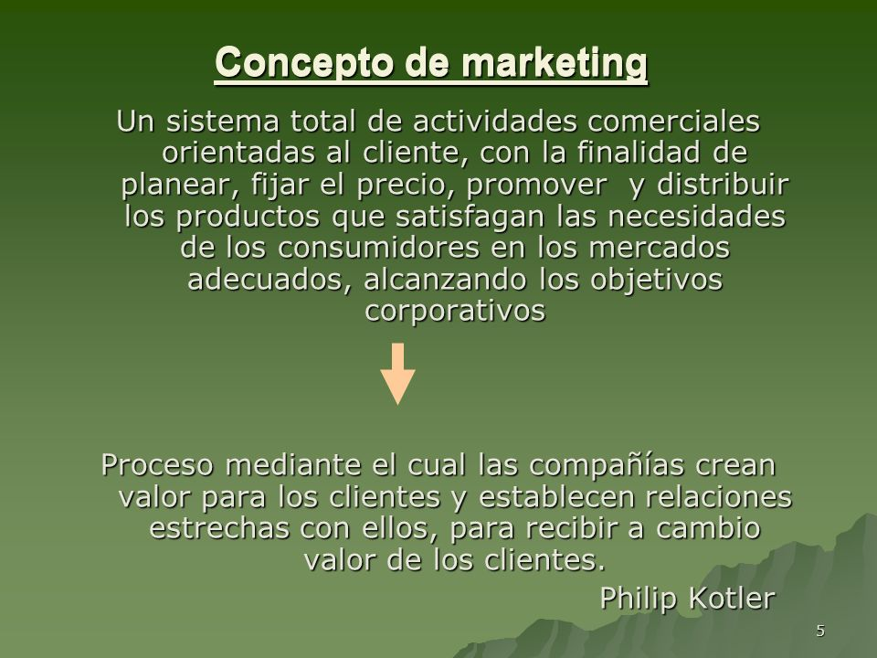 Concepto de marketing Concepto de marketing