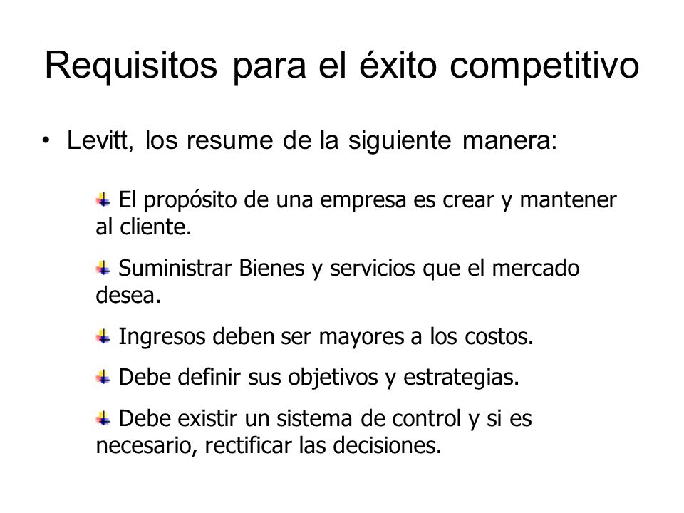 Requisitos para el éxito competitivo