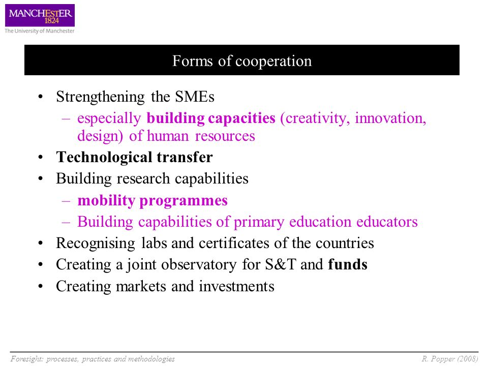 Forms of cooperation Strengthening the SMEs. especially building capacities (creativity, innovation, design) of human resources.