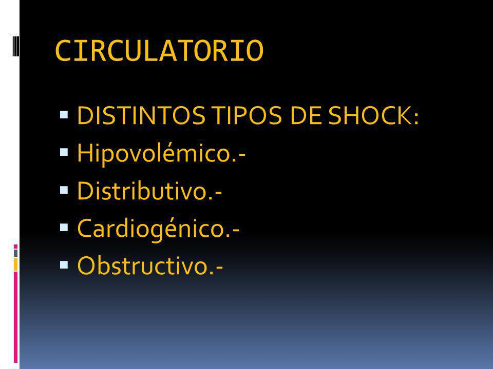 CIRCULATORIO DISTINTOS TIPOS DE SHOCK: Hipovolémico.- Distributivo.-