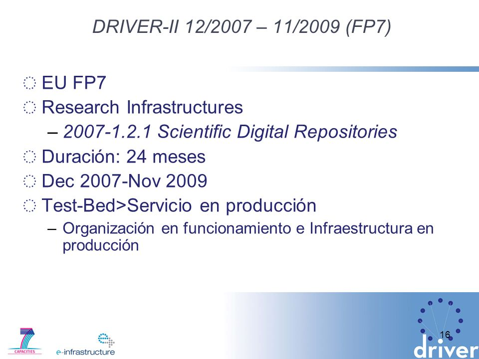 Research Infrastructures 2007-1.2.1 Scientific Digital Repositories