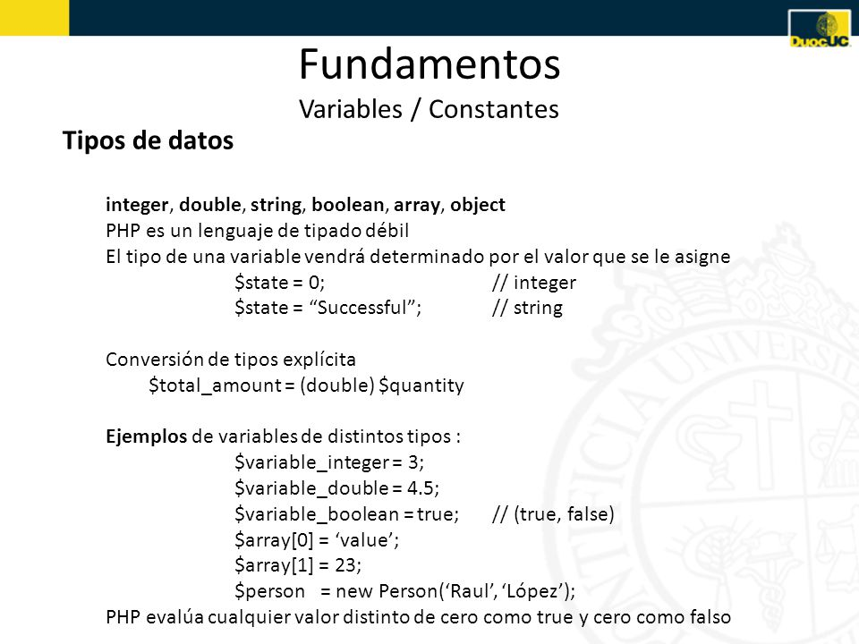 Fundamentos Variables / Constantes