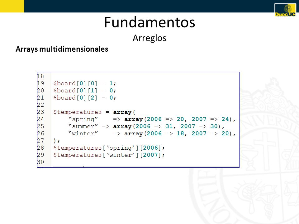 Fundamentos Arreglos Arrays multidimensionales