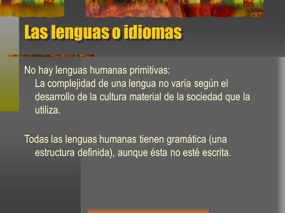 Las lenguas o idiomas