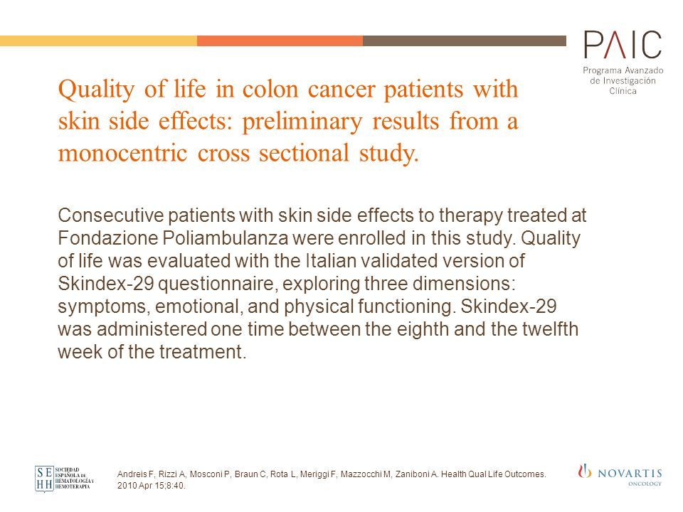 Quality of life in colon cancer patients with skin side effects: preliminary results from a monocentric cross sectional study.