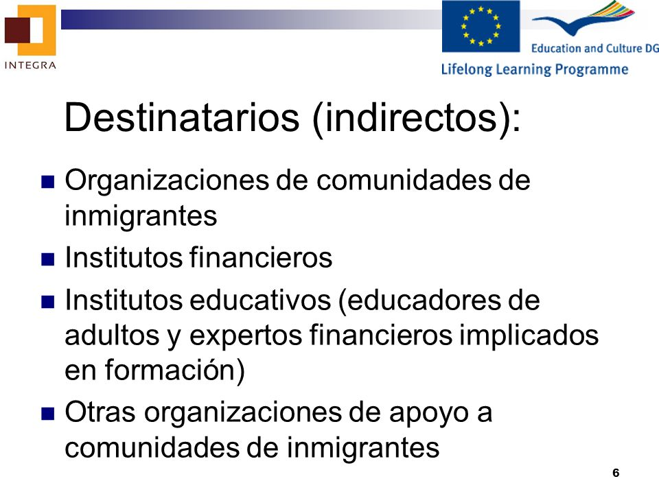 Destinatarios (indirectos):