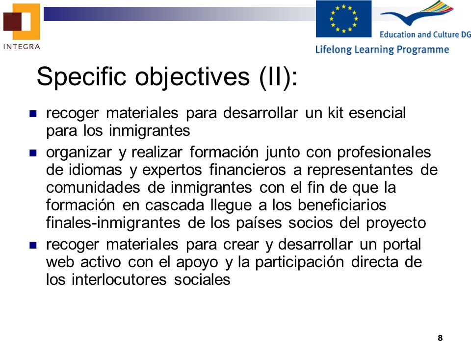 Specific objectives (II):
