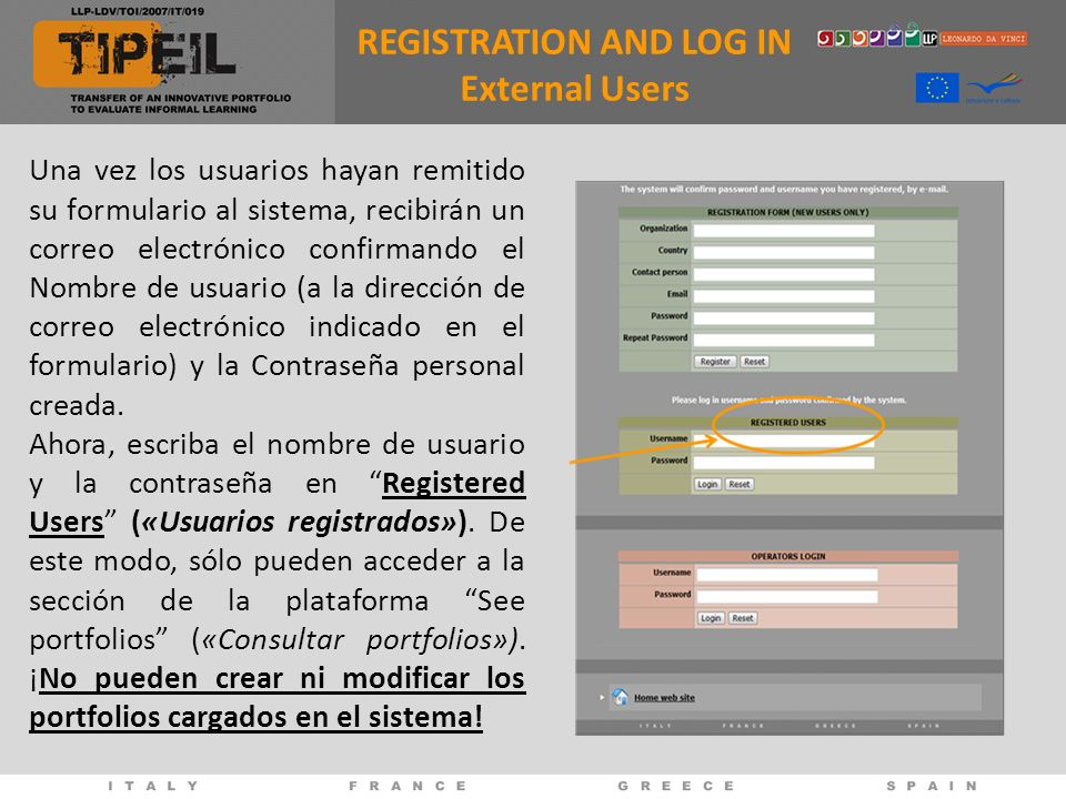 REGISTRATION AND LOG IN