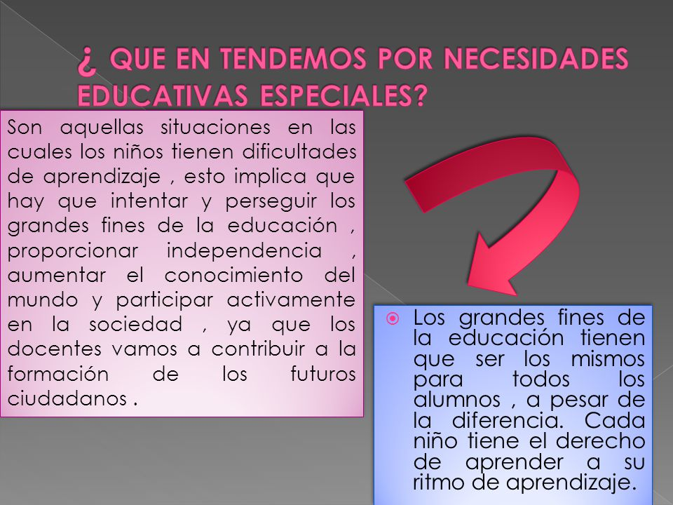 ¿ QUE EN TENDEMOS POR NECESIDADES EDUCATIVAS ESPECIALES