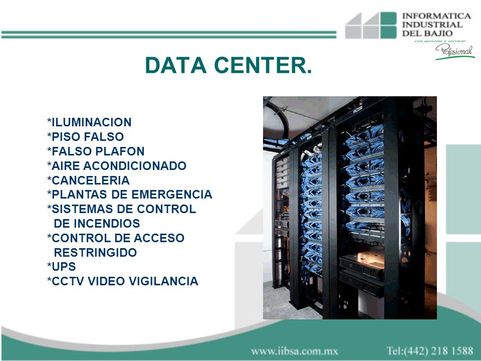 DATA CENTER. *ILUMINACION *PISO FALSO *FALSO PLAFON