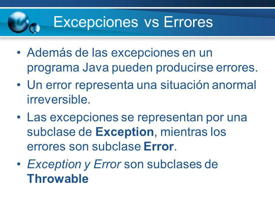 Excepciones vs Errores