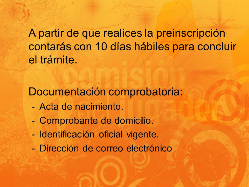 Documentación comprobatoria: