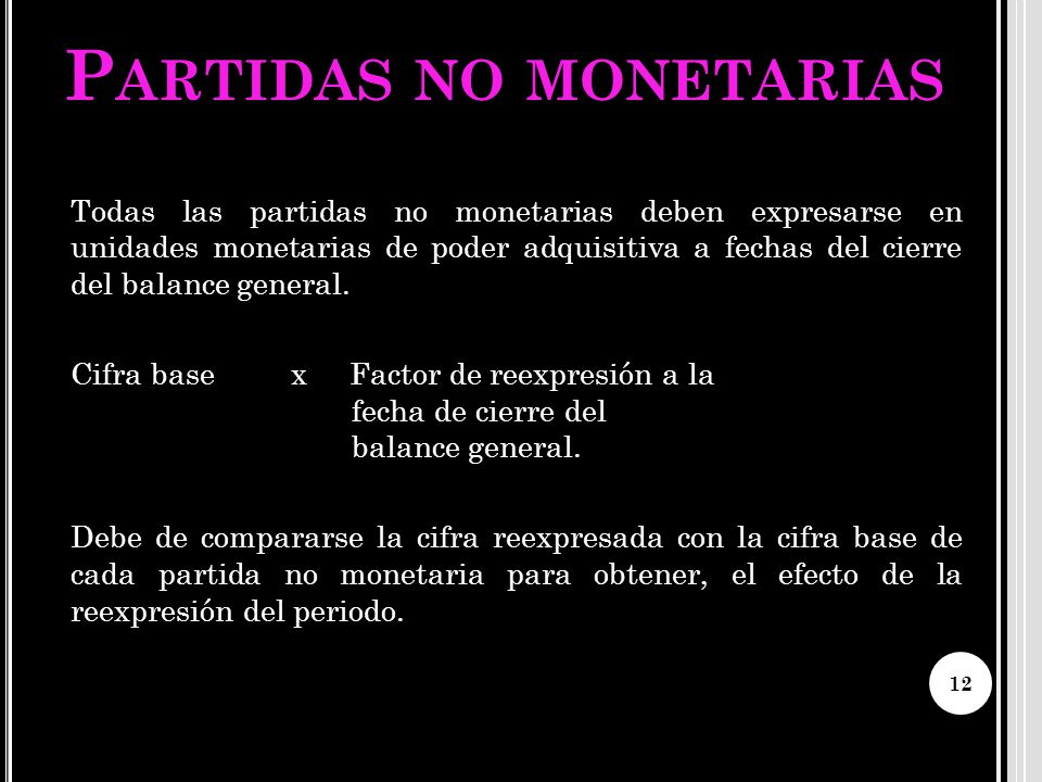 Partidas no monetarias
