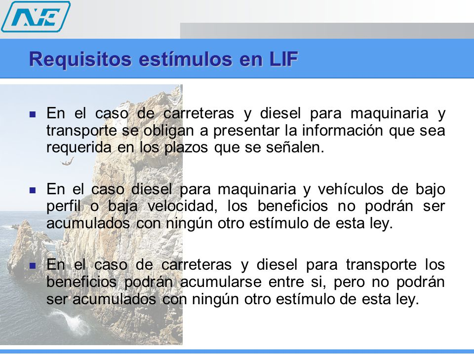 Requisitos estímulos en LIF