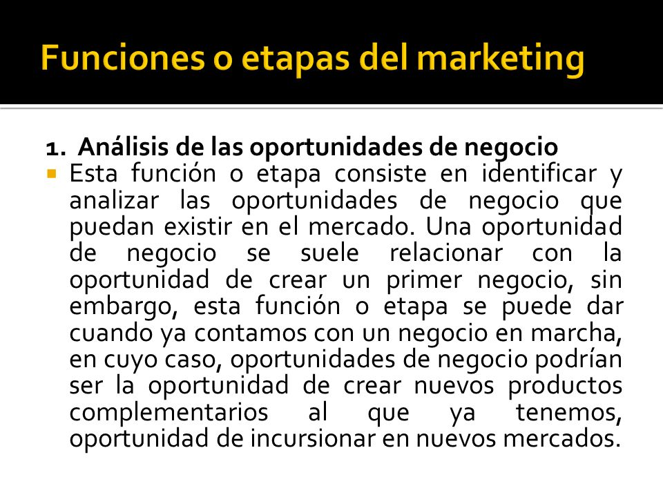 Funciones o etapas del marketing