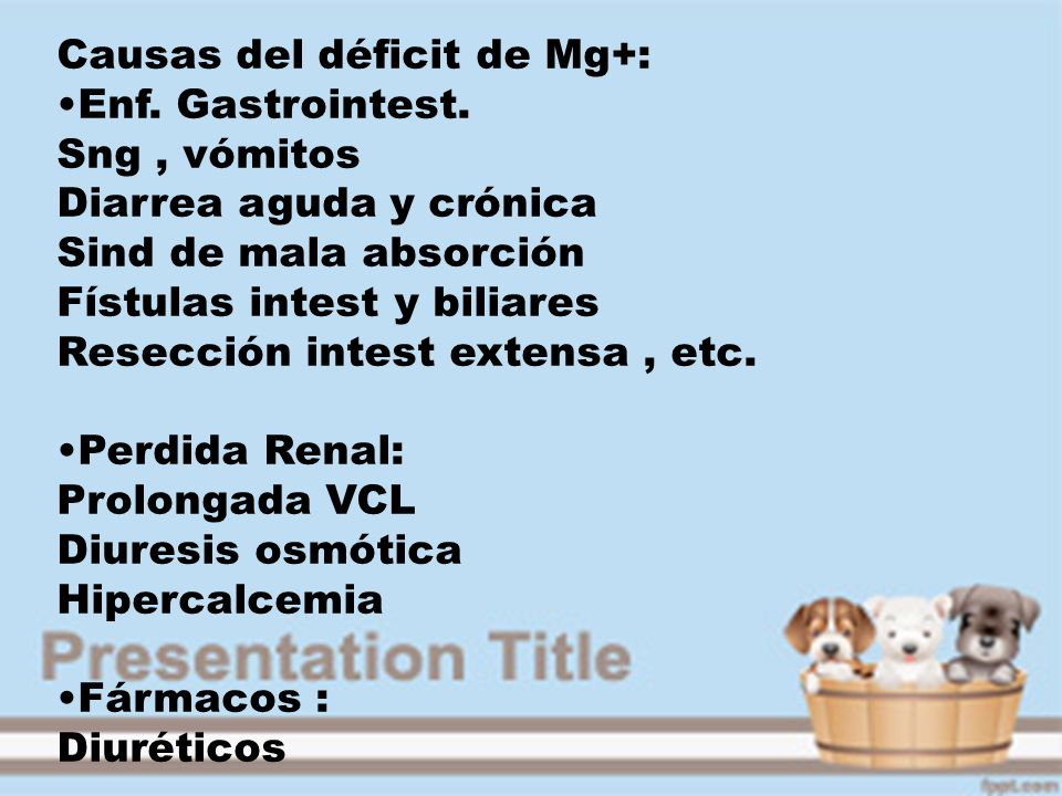 Causas del déficit de Mg+: