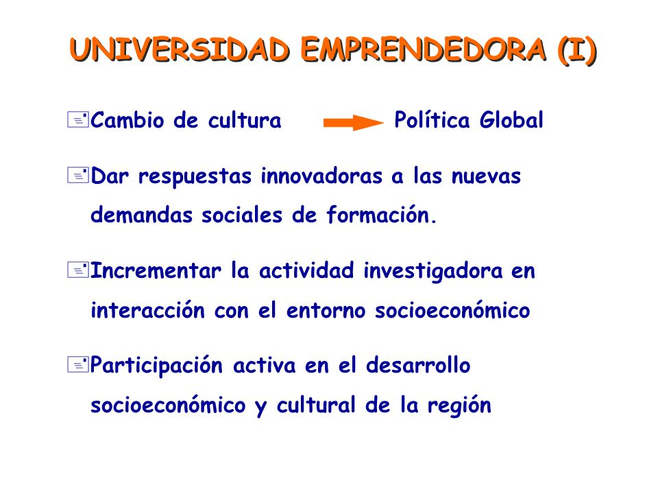 UNIVERSIDAD EMPRENDEDORA (I)