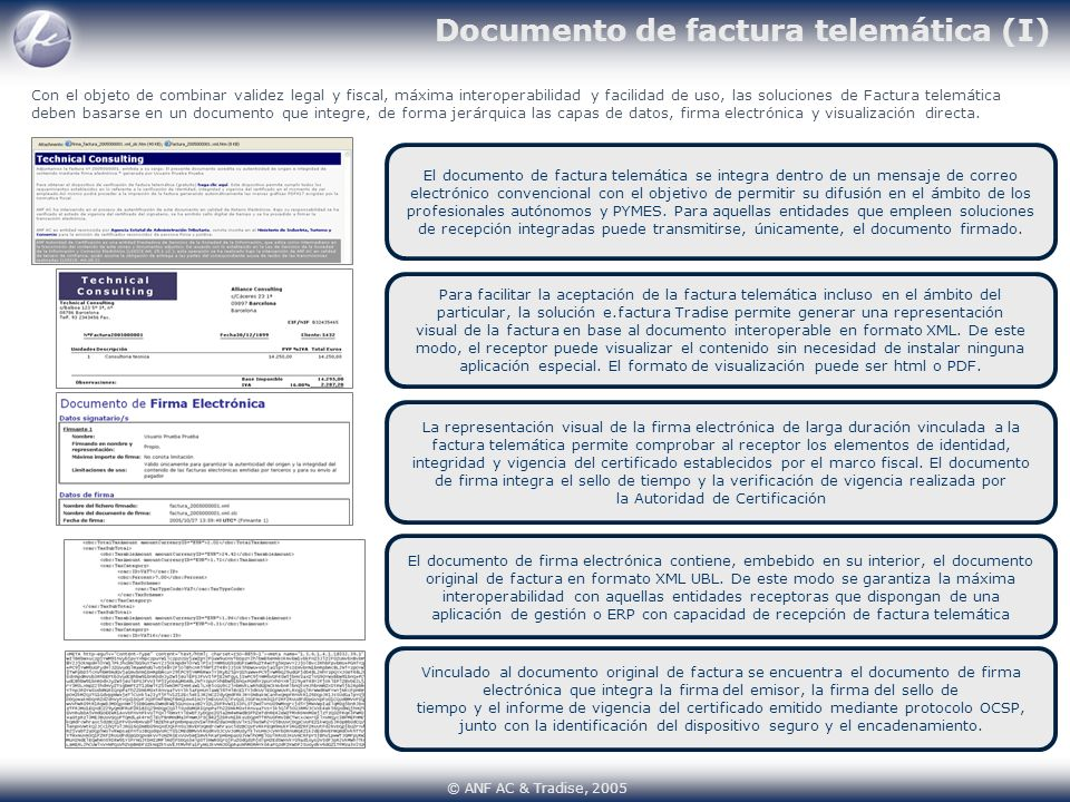 Documento de factura telemática (I)