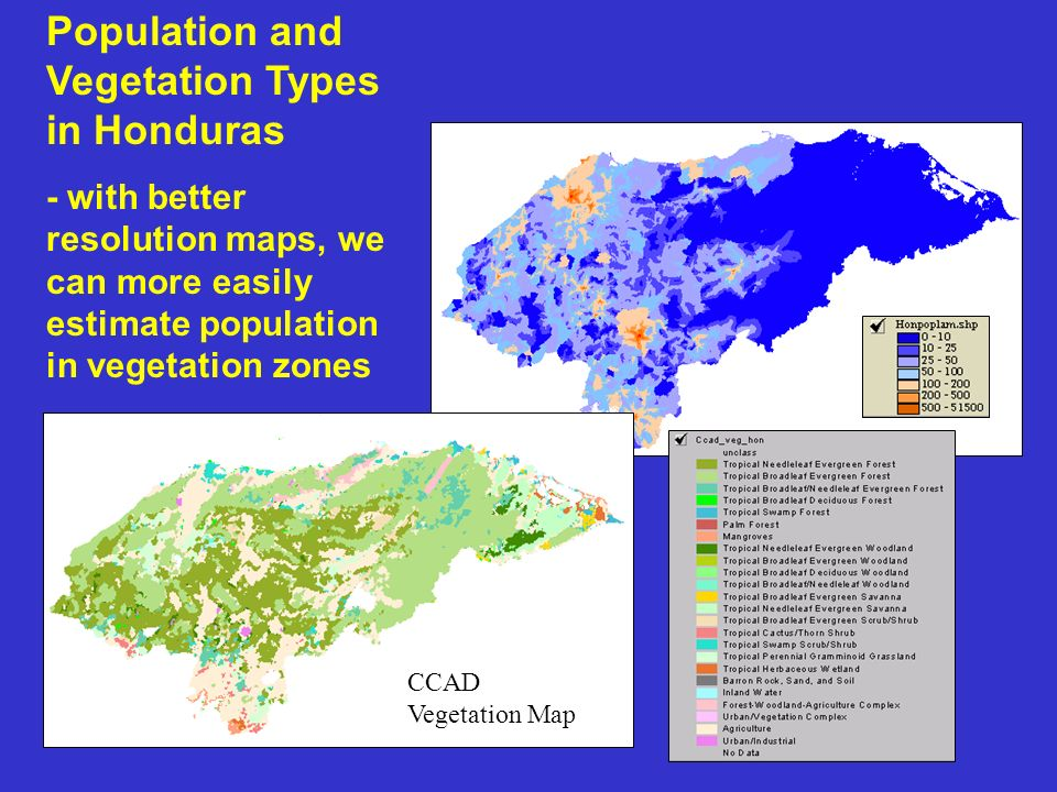 Population and Vegetation Types in Honduras