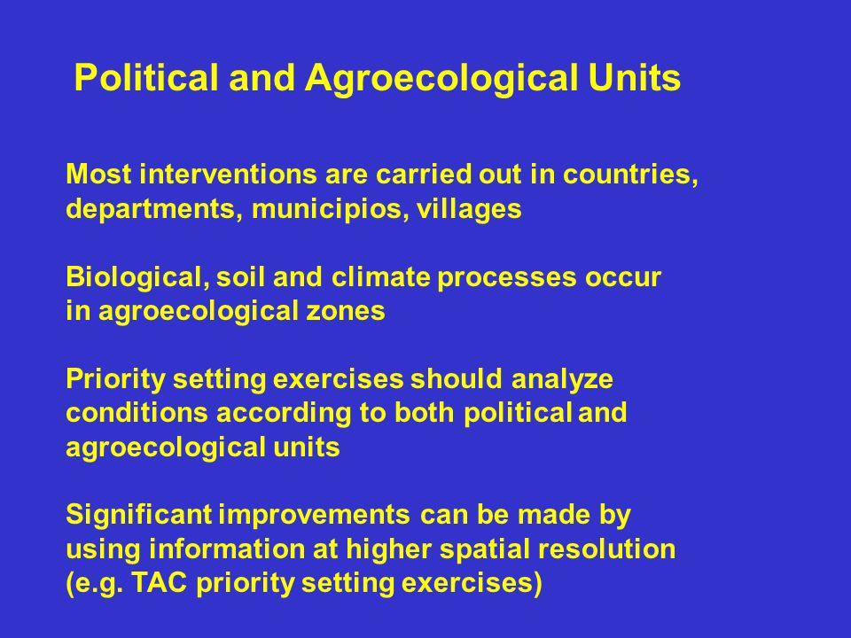 Political and Agroecological Units