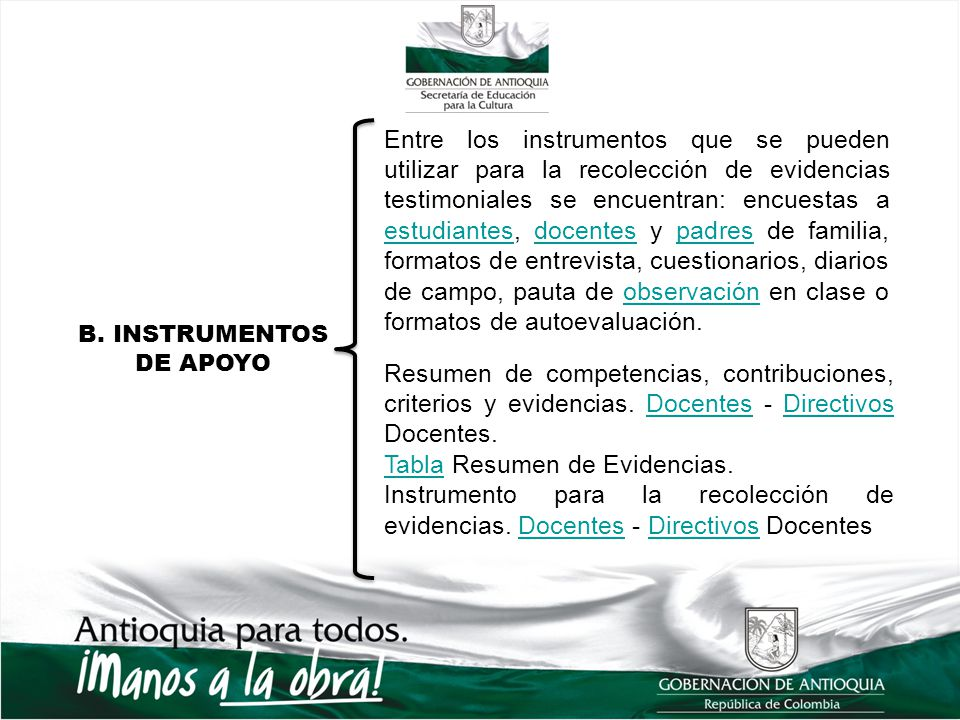 Tabla Resumen de Evidencias.