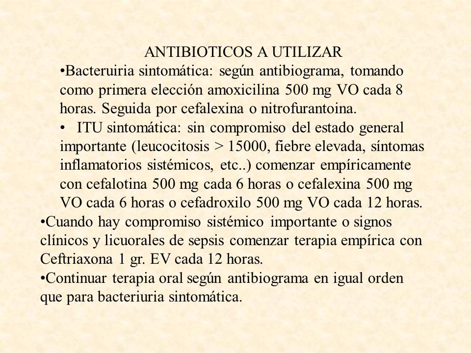 ANTIBIOTICOS A UTILIZAR