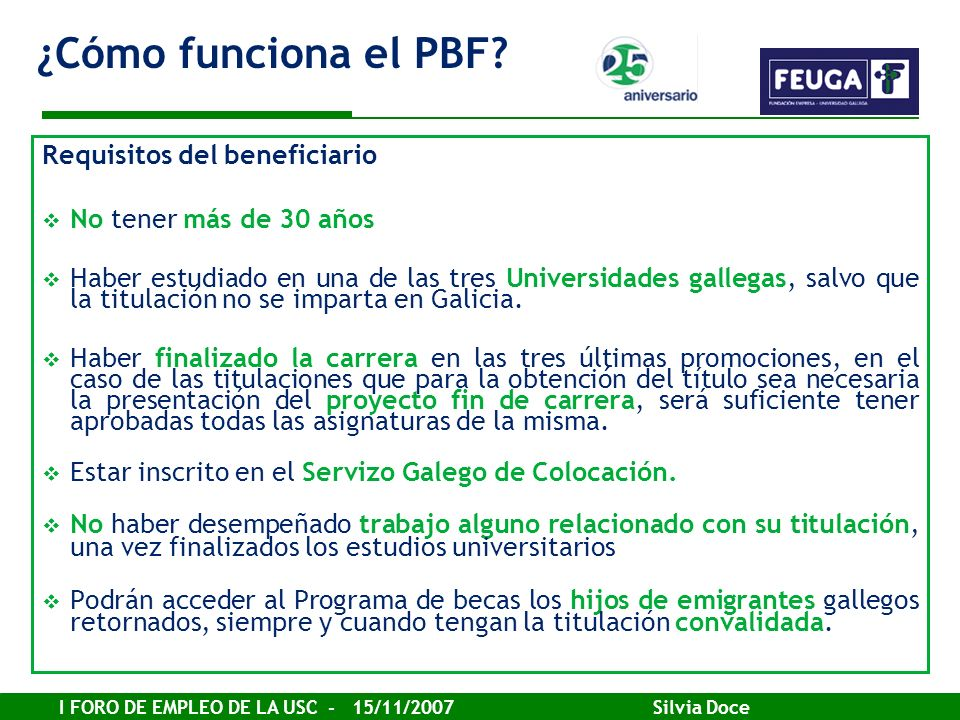 ¿Cómo funciona el PBF Requisitos del beneficiario