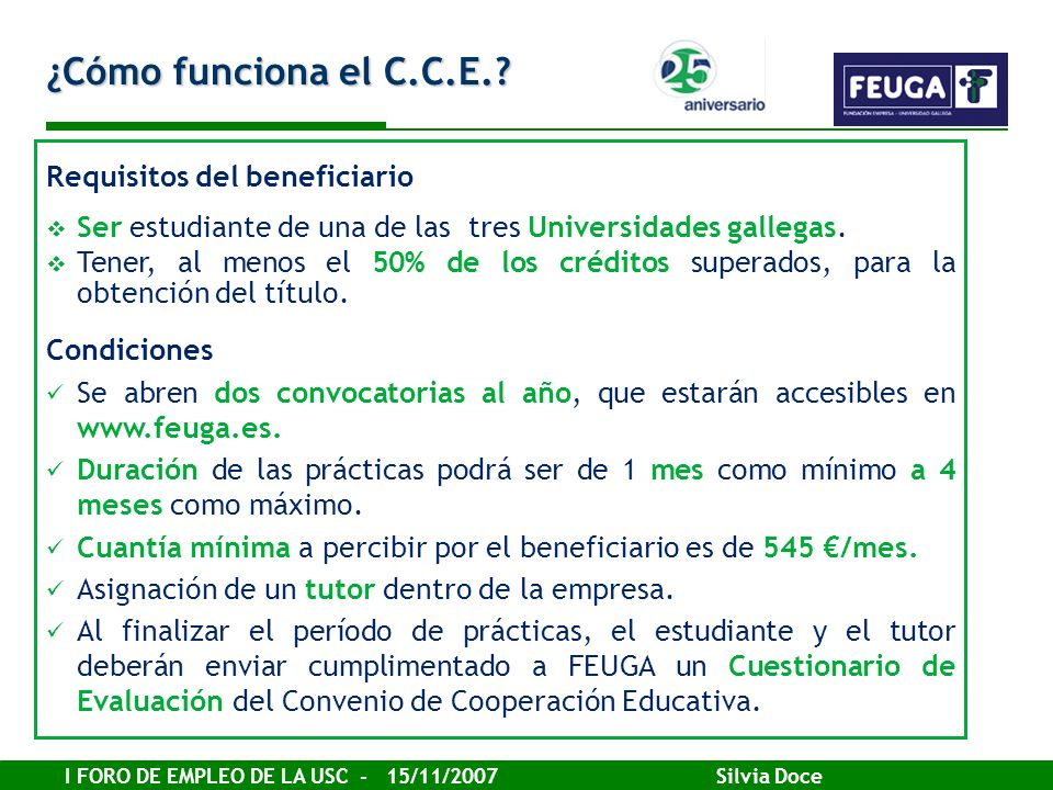 ¿Cómo funciona el C.C.E. Requisitos del beneficiario