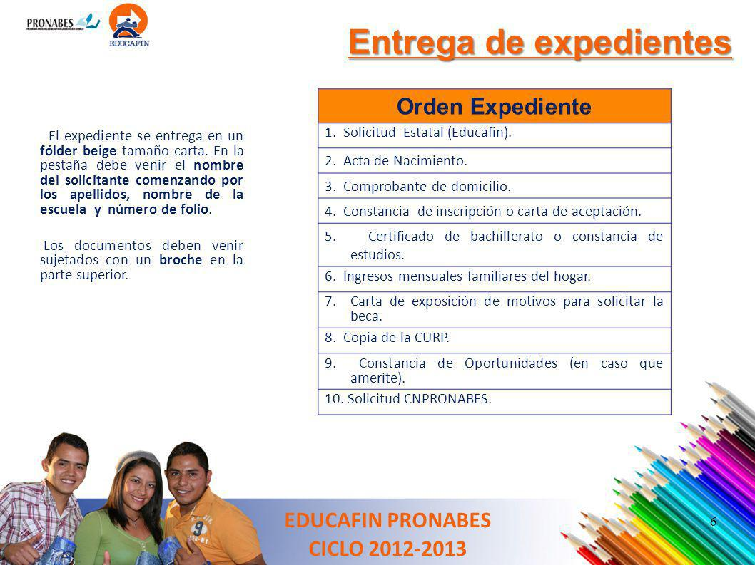 Entrega de expedientes