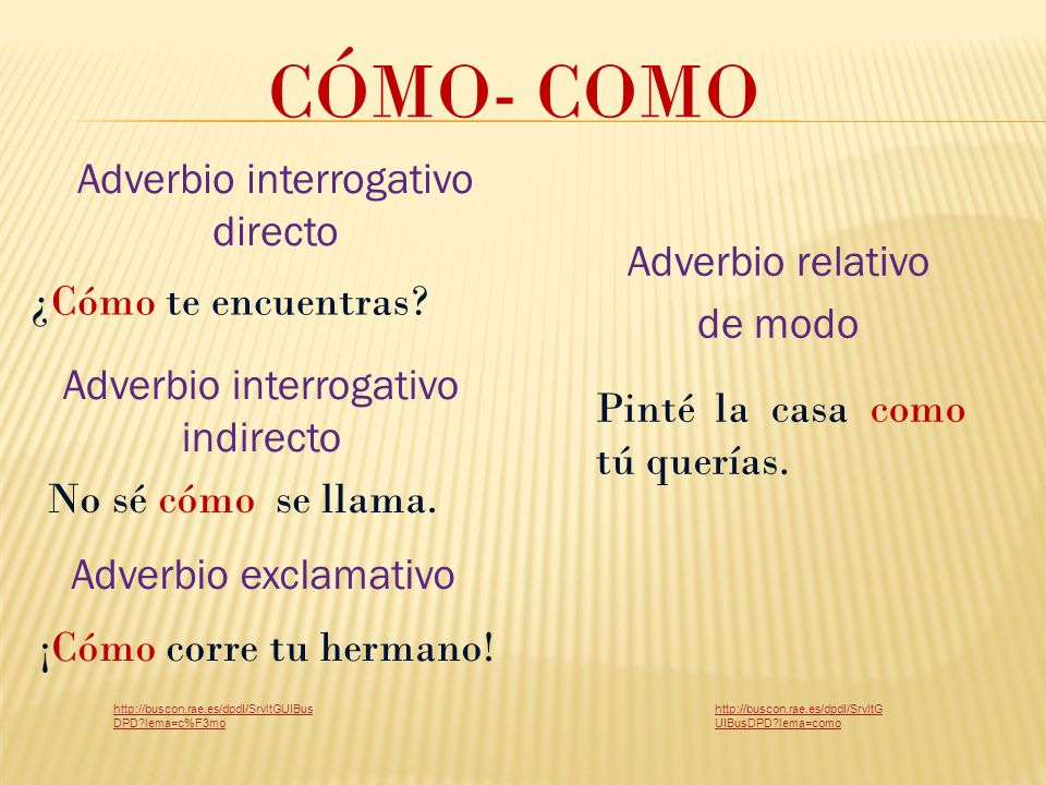 CÓMO- COMO Adverbio interrogativo directo Adverbio relativo de modo