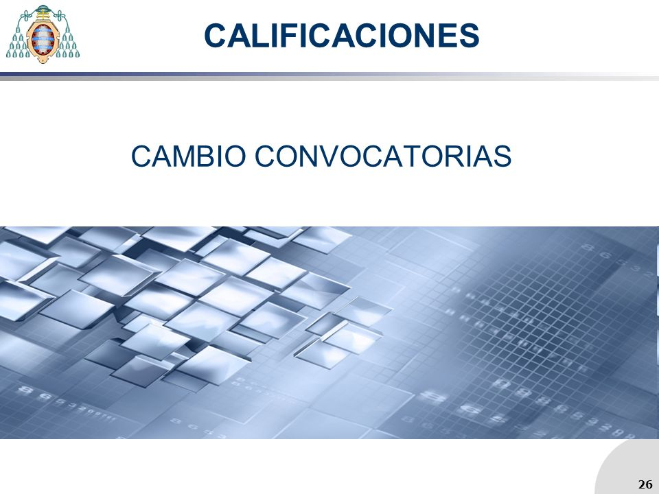 CALIFICACIONES CAMBIO CONVOCATORIAS 26 26