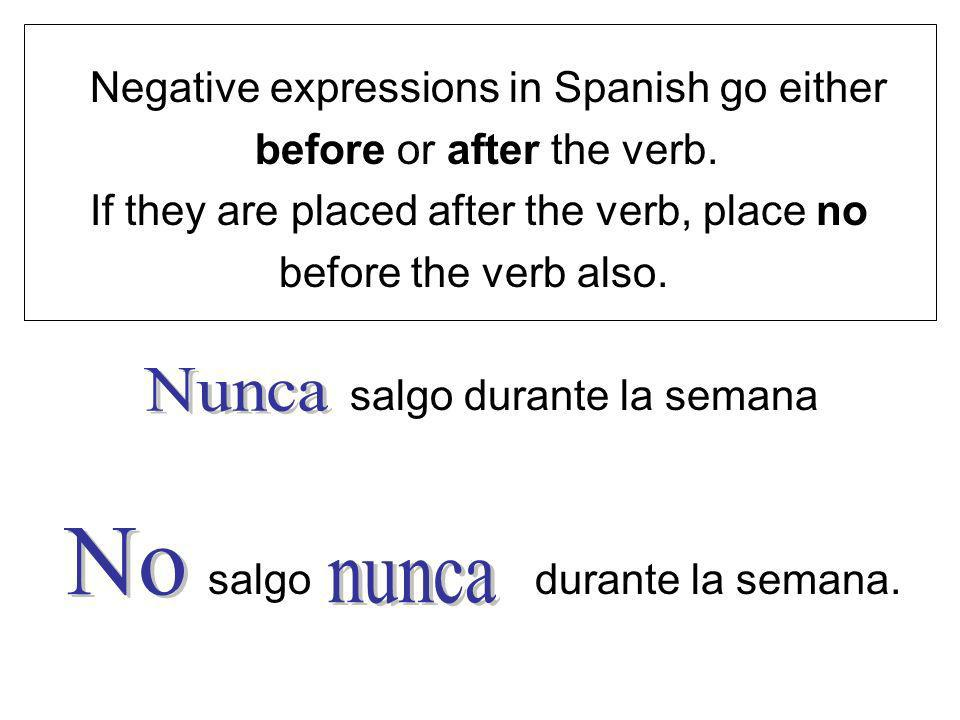 Nunca No nunca Negative expressions in Spanish go either
