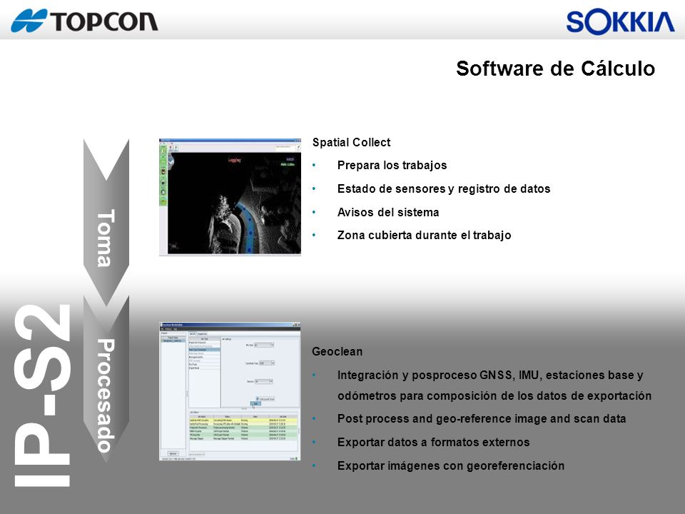 Toma Procesado Software de Cálculo Spatial Collect