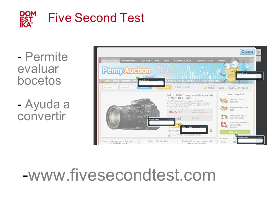 Five Second Test Permite evaluar bocetos