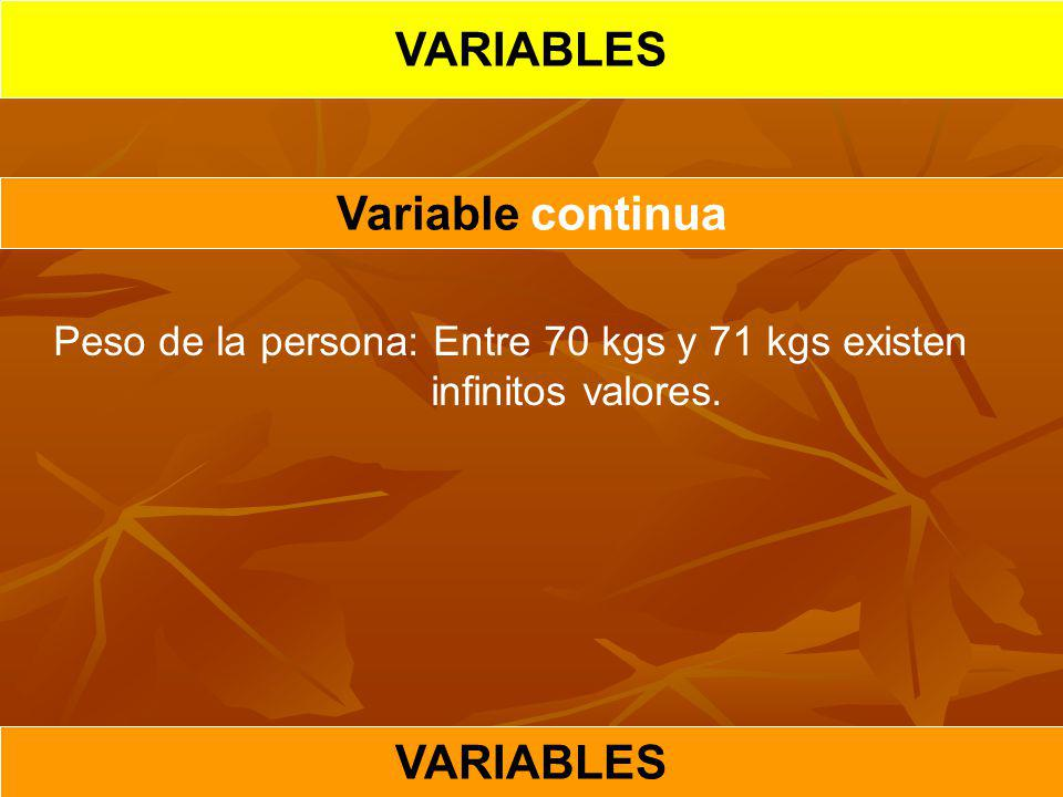 VARIABLES Variable continua VARIABLES