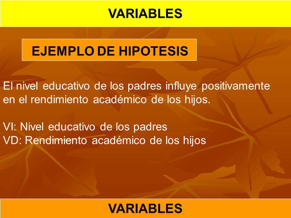 VARIABLES EJEMPLO DE HIPOTESIS VARIABLES