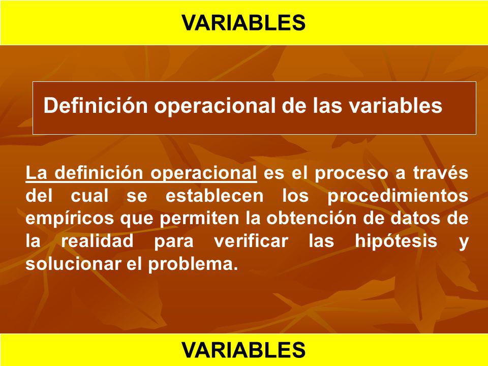 VARIABLES HIPOTESIS CIENTIFICA VARIABLES