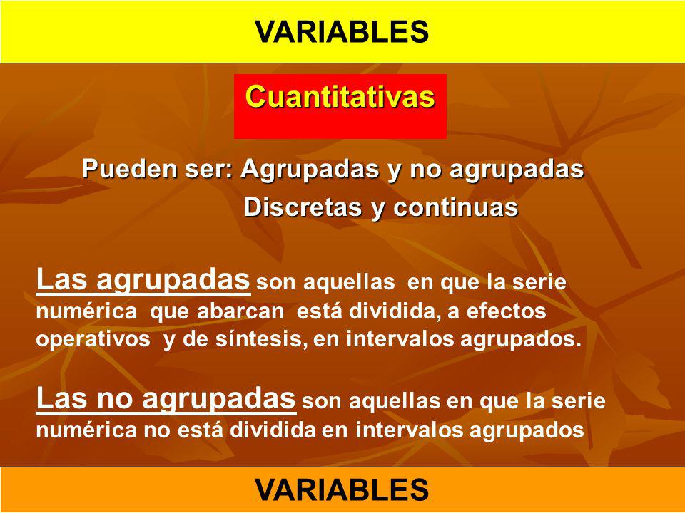 VARIABLES Cuantitativas VARIABLES