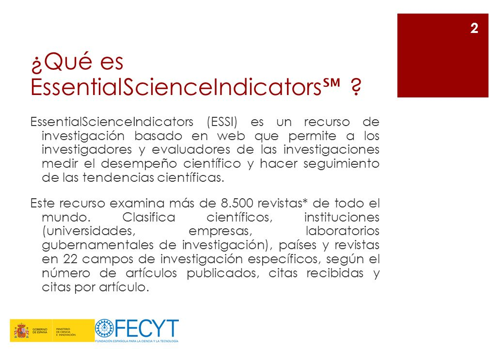 ¿Qué es EssentialScienceIndicators℠