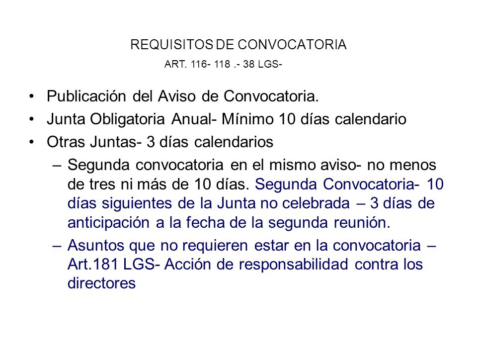 REQUISITOS DE CONVOCATORIA