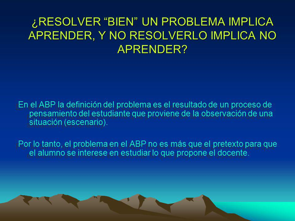 ¿RESOLVER BIEN UN PROBLEMA IMPLICA APRENDER, Y NO RESOLVERLO IMPLICA NO APRENDER