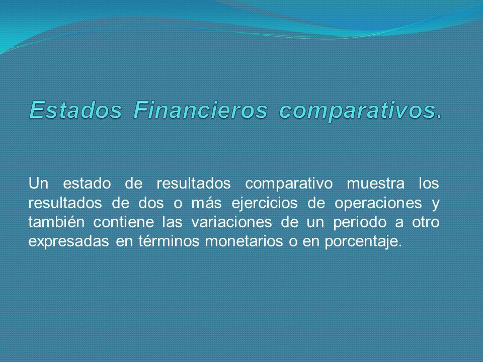 Estados Financieros comparativos.