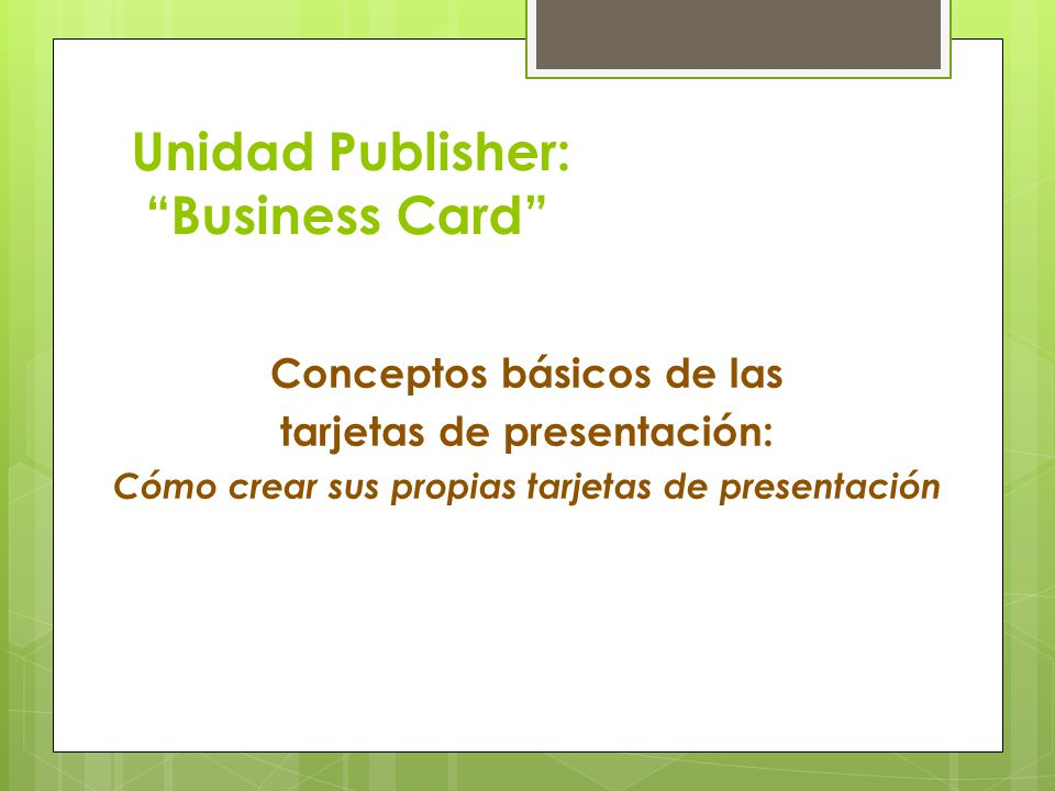 Unidad Publisher: Business Card