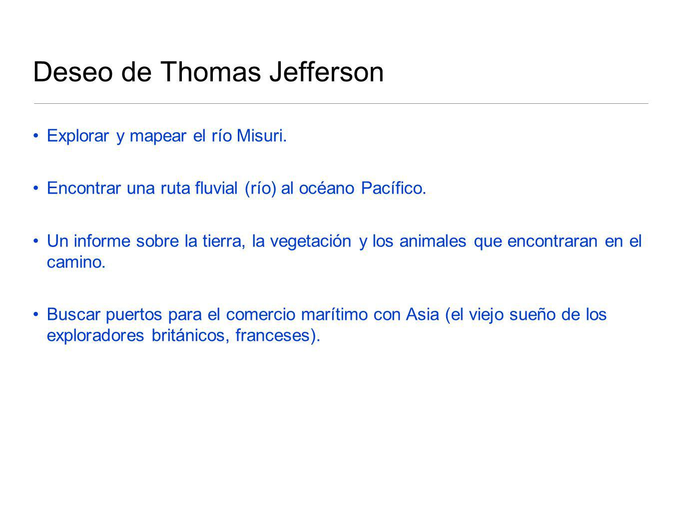 Deseo de Thomas Jefferson