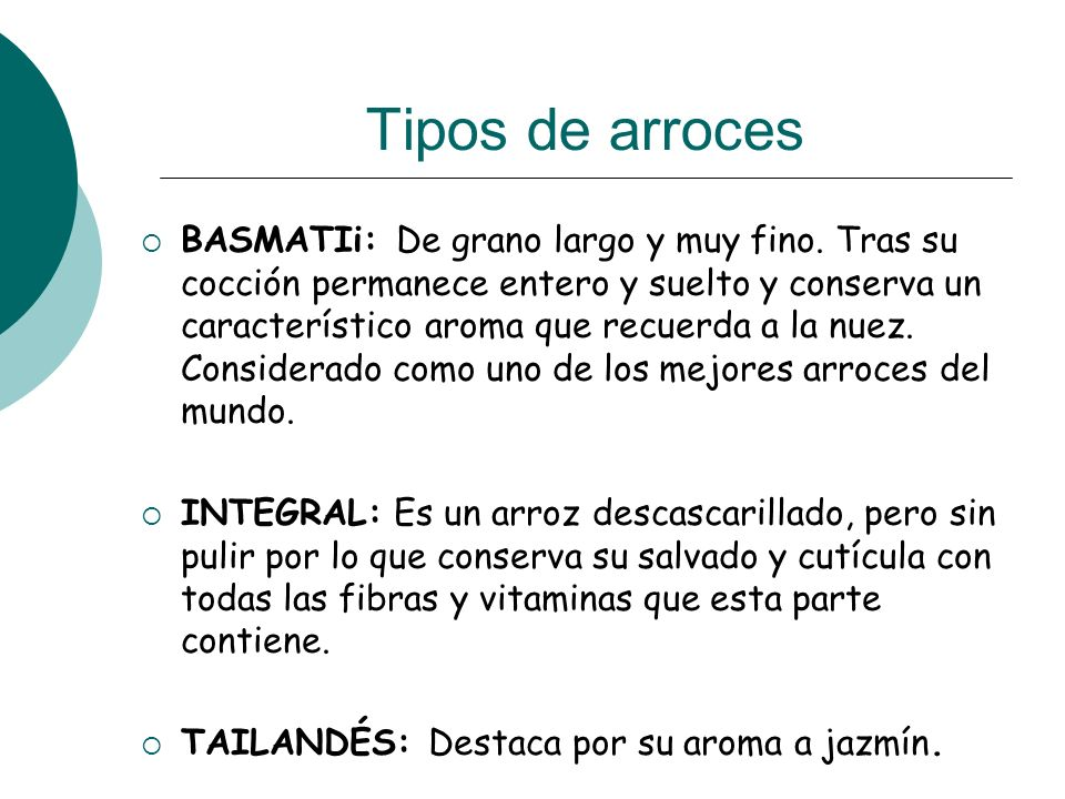 Tipos de arroces