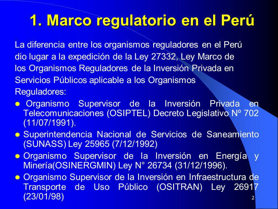 1. Marco regulatorio en el Perú