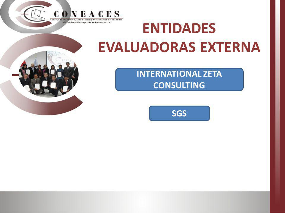 ENTIDADES EVALUADORAS EXTERNA INTERNATIONAL ZETA CONSULTING